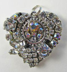 Heart Heirloom Pendant of vintage jewelry pieces  Rhinestones and Aurora Borealis crystals