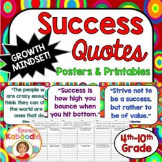 This Character Traits Quotes Posters and Printables product focuses on  SUCCESS (perfect for growth mindset) and includes 10 character traits quotes posters and 10 printables that correspond to each quote about success.You can use this resource in a number of ways.-Display each character quote in the classroom as time allows and discuss one quote at a time.-Complete the printables during class, with partners or groups, or send it home for homework.
