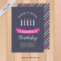 Colored candles birthday card Free Vector