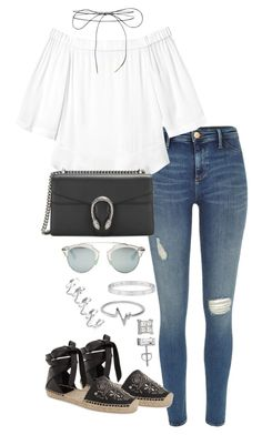 Untitled #2103 by ritavalente on Polyvore featuring polyvore, moda, style, Rebecca Taylor, River Island, Yves Saint Laurent, Eddie Borgo, Cartier, Jewel Exclusive, Lilou, Christian Dior, fashion and clothing
