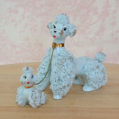 Vintage Blue Spaghetti Poodles by Lefton My Nana had these! French Poodles, Calming Colors, Ceramic Animals, Vintage Theme, Vintage Pottery, Kitsch, Doggies, Childhood, Miniatures