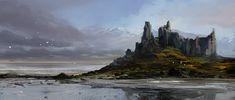 Shore castle by MacRebisz Fantasy Castle, High Fantasy, Medieval Fantasy, Fantasy World, Landscape Concept, Fantasy Landscape, Landscape Art, Fantasy Concept Art, Fantasy Art