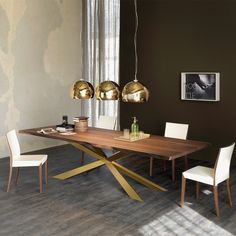 Catalan Italia Spyder Wood Dining Table Gold legs and wooden top dining table with gold pendant light Harrogate Interiors Wooden Dining Table Modern, Luxury Dining Tables, Contemporary Dining Table, Luxury Dining Room, Dining Room Design, Dining Room Table, Dining Chairs, Wood Table, Dining Rooms