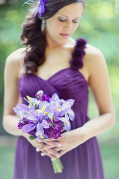 Koru Wedding Style: shades of purple Iris Wedding Bouquet, Bridesmaid Flowers, Wedding Bridesmaid Dresses, Wedding Flowers, Wedding Attire, Purple Wedding, Dream Wedding, Sister Wedding, Diana Wedding