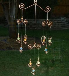 Solid Copper Glass Mobile Suncatcher Handcrafted by TwistsOnWire Copper Glass, Green Copper, Diy Mobile, Mobile Art, Mobiles, Sun Catchers, Diy Wind Chimes, Ideias Diy, Wind Spinners