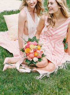 Photographer : Whitney Heard Hair and make up  — Amanda Zack Floral design — Living Fresh Flower Studio and School Triped bridesmaid dress — Cynthia Martyn Fine Events   Garden wedding. Light pink and warm colour Summer bridal party pictures Fine art film photography