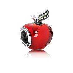 Disney Snow White apple silver charm with red enamel and dark green cubic zirconia. Dare to take a bite? ;) #PANDORAlovesDisney