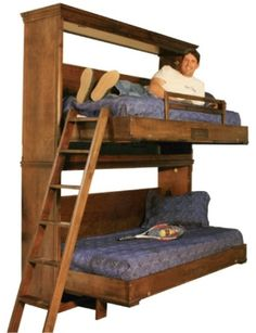 Dennis in upper bunk of a Tuscany style Wilding Bunk Bed. - Dennis in upper bunk of a Tuscany style Wilding Bunk Bed. Murphy Bunk Beds, Build A Murphy Bed, Bunk Beds Built In, Modern Bunk Beds, Murphy Bed Ikea, Bunk Beds With Stairs, Murphy Bed Plans, Kids Bunk Beds, Rustic Murphy Beds