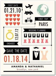Original tarjeta de invitación para bodas tipo infografía vía weddingpaperdivas.com
