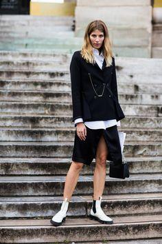 #layers #peacoat #slit #skirt