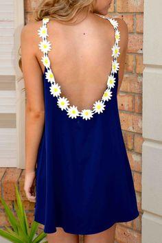 Floral Splicing Jewel Neck Backless Sleeveless Dress