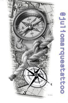 Mom Tattoo Designs, Clock Tattoo Design, Compass Tattoo Design, Half Sleeve Tattoos Designs, Compass And Map Tattoo, Nautical Compass Tattoo, Nautical Tattoo Sleeve, Pirate Map Tattoo Sleeve, Bussola Tattoo