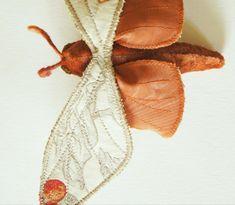 Create a Textile Moth Sculpturewith this free PDF pattern & instructions Handmade Soft Toys, Felt Mouse, Unique Toys, Pet Birds, Fiber Art, Moth, Pdf, Textiles, Leaves