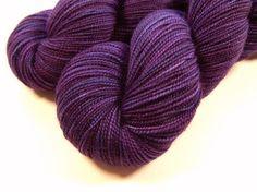 Hand Dyed Yarn – Sock Weight Superwash Merino Wool Yarn – Blackberry Tonal – Knitting Yarn, Sock Yarn, Wool Yarn, Purple Violet