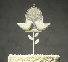 Antique Lace Wedding Cake Topper Wooden Cake by WoodenHeartButtons
