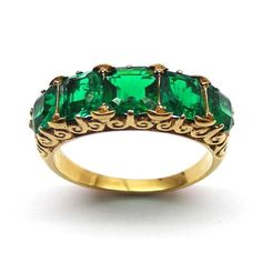 Antique emerald and diamond 5 stone ring, carved gold sides, c.1850