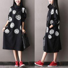 White Dot Black Cotton Big Size  Long Dresses Women Clothes Q0711A