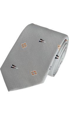 Thom Grey Nautical Jacquard Tie