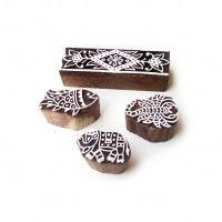 (Set of 4) Animal and Border Handmade Motif Wood Print Stamps