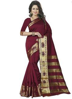 ea03978306 Shop now banarasi pure silk sarees maroon colored lotus golden print broad  border work saree for women and get the good deals