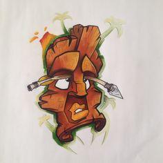 #corralejo #Fuerteventura #dibujo #pantoni #color #tiki #cartoon #graphic #T-shirt #loco #crazy #gusy #volcanic #wood