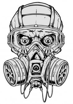 Detailed graphic realistic cool black and white human skull with protective gas mask and crazy eyes. Isolated on white background. Gas Mask Drawing, Gas Mask Art, Masks Art, Tattoo Design Drawings, Skull Tattoo Design, Graffiti Drawing, Graffiti Art, Gas Mask Tattoo, Marshmello Wallpapers