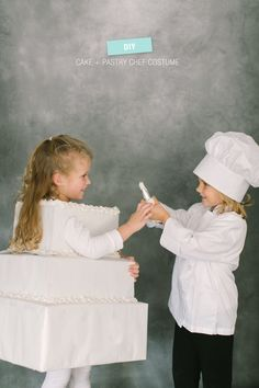 DIY Halloween Costume: Pastry Chef & Cake Read more - http://www.stylemepretty.com/living/2013/10/23/diy-halloween-costume-pastry-chef-cake/