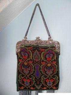 Handtasche 800 er Silber Tasche Silbertasche Perlen Damentasche Taschen