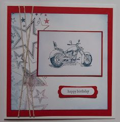 """Male Cards # 1 - Motorbike / Stars. Pictured Card Size 6"""" x 6"""". Stampin Up -"""