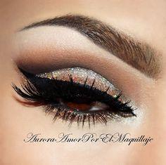 Copper glitter smokey cat eye with cut crease #eyes #eye #makeup #bold #glitter #dark #dramatic