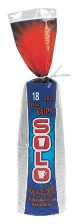 Solo  10-Ounce Plastic Clear Cups, 18-Count Packages (Pack of 12) by SOLO. $21.71. 10-Ounce Plastic Clear Cups. 12 Packages of 18 Cups per case (216 Cups). Save 30% Off!