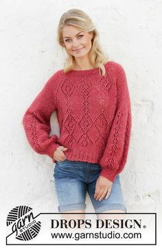 Berry Diamond - Knitted sweater with raglan and balloon sleeves in DROPS Air. The piece is worked top down with lace pattern. Sizes S - XXXL. - Free pattern by DROPS Design Sweater Knitting Patterns, Cardigan Pattern, Knit Patterns, Free Knitting, Baby Knitting, Drops Design, Laine Drops, Work Tops, Knit Crochet