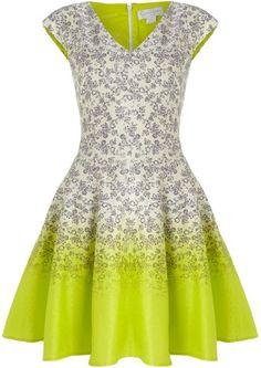 Jessica Simpson Green Ditsy Print Neon Hem Dress