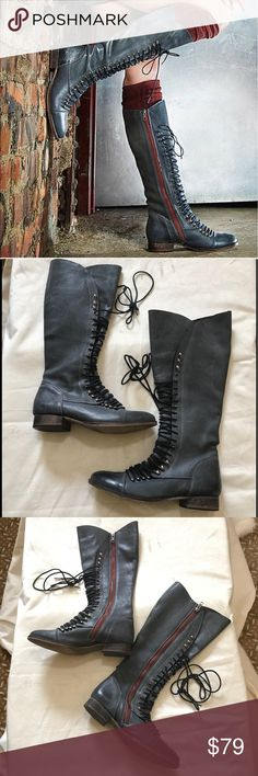 Steve Madden tall lace-up Perrin Combat boots 8 Steve madden Perrin lace up combat style gray boots. Size 8. Worn no more than three times. 16 inches in total length with 1 inch heel. No trades please and lowball offers ignored. Steve Madden Shoes Combat & Moto Boots