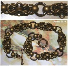Handcrafted  bronze  ball Chainmail Metal Bracelet