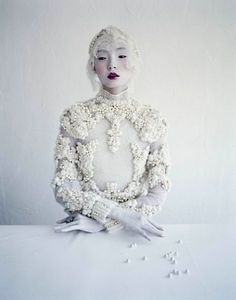 More frosty inspiration for the Ice Maiden in this photo of Xiao Wen Ju shot by Tim Walker for W Magazine.