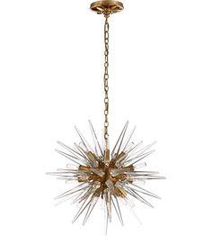 Visual Comfort E.F. Chapman Quincy 20 Light 20-inch Pendant in Antique Burnished Brass, Small, Sputnik, Clear Acrylic Shade CHC5286AB-CA #visualcomfort #lightingnewyork #lighting