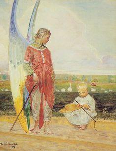 Jacek Malczewski - Angel and the LIttle Shepherd Boy