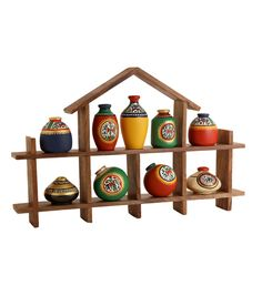 Unravel India 9 Warli Painted Terracotta Pots With Sheesham Wood Frame, http://www.snapdeal.com/product/unravel-india-9-warli-painted/2079218904
