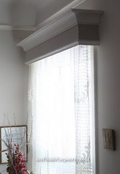 DIY valence window box to frame the curtains at the sliding door. Kitchen Window Coverings, Window Cornices, Valances & Cornices, Pelmets, Curtain Box, Wood Valance, Stores, Home Projects, Decoration