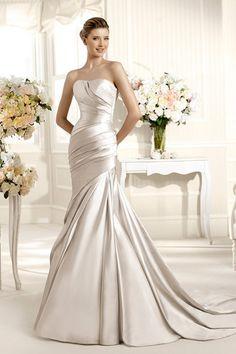 Buy 2013 Spring Wedding Dresses Trumpet Mermaid Strapless Court Train Satin On line