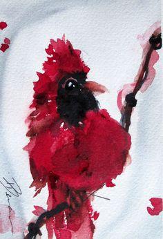 Red Cardinal Watercolor Art Print Original Bird by dawndermanart