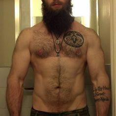 Seriously pinned this only for the beard. Seriously. Take out that one nipple ring tho, or at least get both done