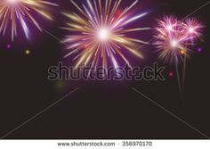 Illustration of Colorful fireworks on dark night background - stock photo
