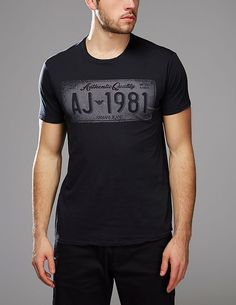 Armani Jeans T-Shirt Registration Plate - available at Tessuti, the luxury designer retailer for Men, Women and Children. Armani Jeans T Shirt, Jacket Style, Branded T Shirts, Denim Jeans, Shirt Designs, 2017 Ideas, Mens Fashion, American Football, Man Fashion