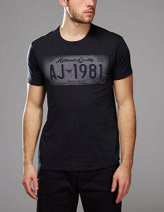 blue Armani Jeans Registration Plate T-Shirt