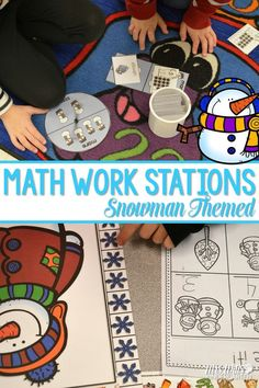 8 fun math stations activities for kindergarten with differentiation!  Comparing numbers, subitizing, measurement, addition and subtraction!  Great winter or snowman resources and printables!