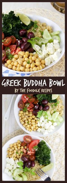 Greek Buddha Bowl is a great hearty vegetarian dish filled with Greek feta, chickpeas, kamut couscous, cucumber, tomato, kale chips and kalamatas olives topped with a greek dressing for a healthy and colorful weeknight dinner. #vegetarian #bowl #greek #feta