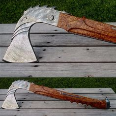 "186 Likes, 2 Comments - @vladicknives on Instagram: ""Another variant of ""Dragon Viking Axe"" with masur birch handle #blacksmithing #forge #knifeporn…"""