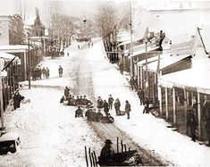 Photo of snowy Grass Valley and residents tobogganing down the Main Street hill. Grass Valley was originally named Centreville when a post office was. Nevada City California, Northern California, Disneyland Castle, Grass Valley, Sierra Nevada, Street Photo, Historical Sites, Back In The Day, Main Street